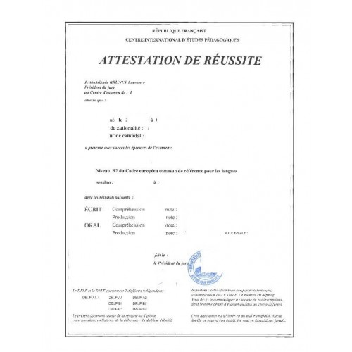 Attestation d'études ou stage