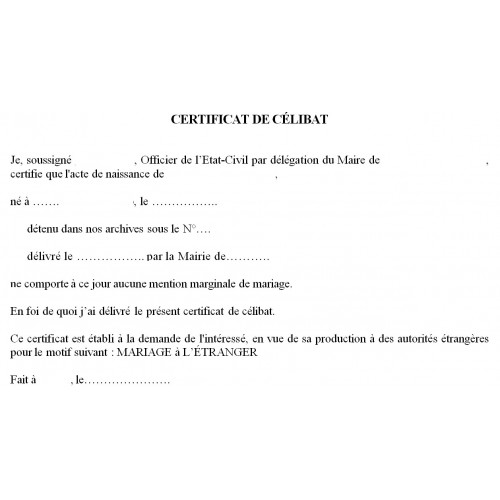 Certificado de soltería