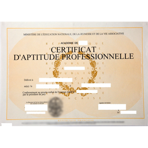 Attestation professionnelle